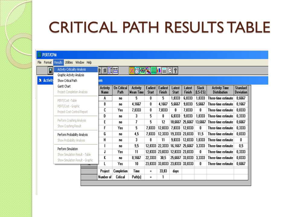 CRITICAL PATH RESULTS TABLE