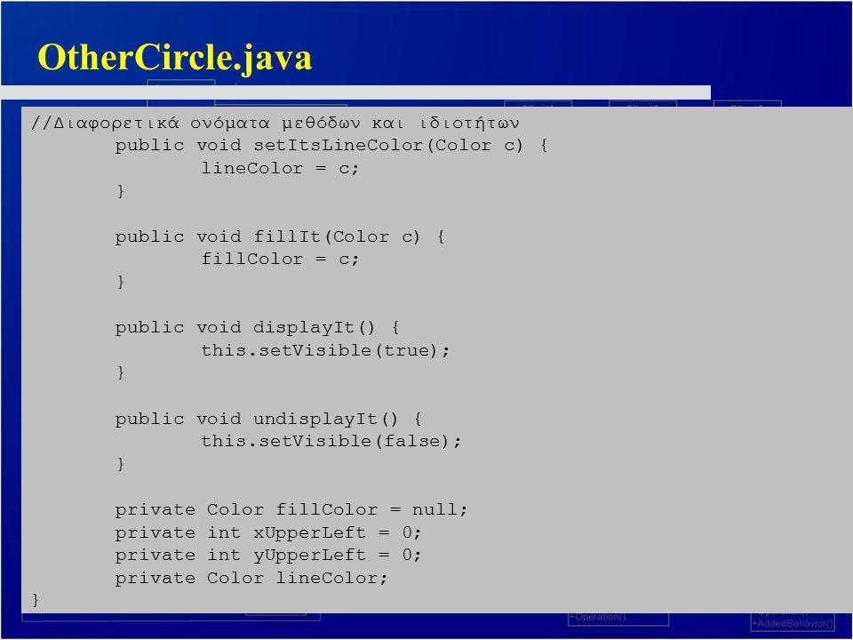 OtherCircle.java //Διαφορετικά ονόματα μεθόδων και ιδιοτήτων