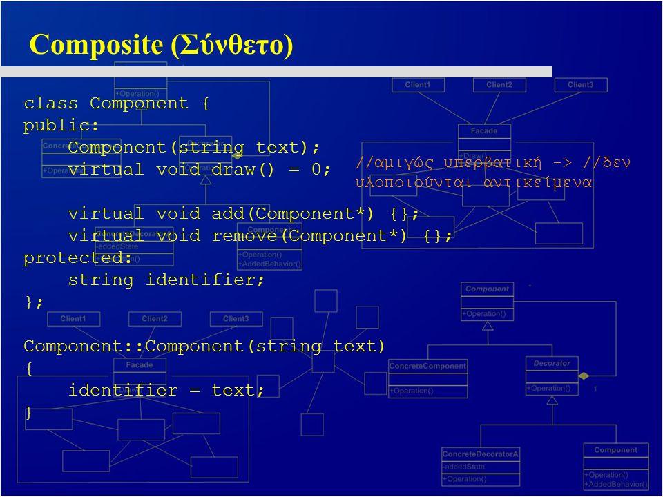 Composite (Σύνθετο) class Component { public: Component(string text);