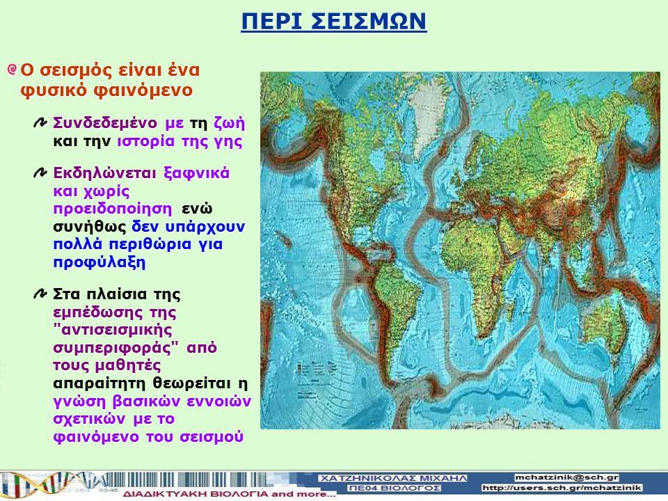ΠΕΡΙ ΣΕΙΣΜΩΝ Ο σεισμός είναι ένα φυσικό φαινόμενο
