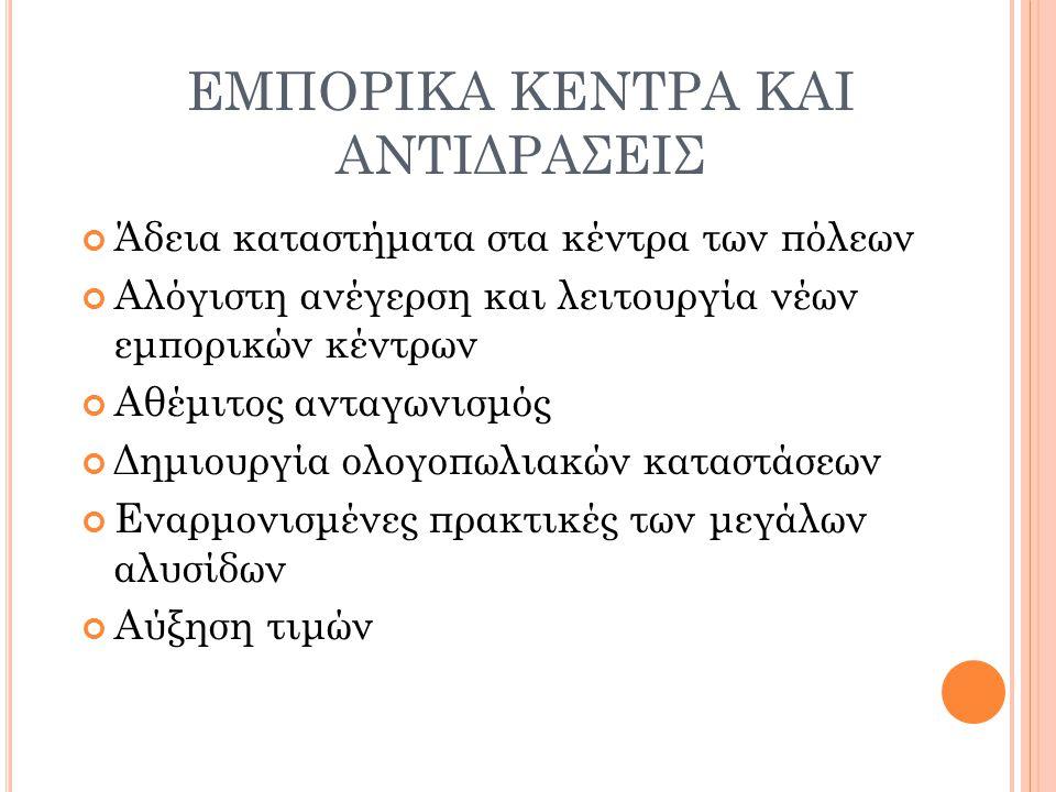 ΕΜΠΟΡΙΚΑ ΚΕΝΤΡΑ ΚΑΙ ΑΝΤΙΔΡΑΣΕΙΣ