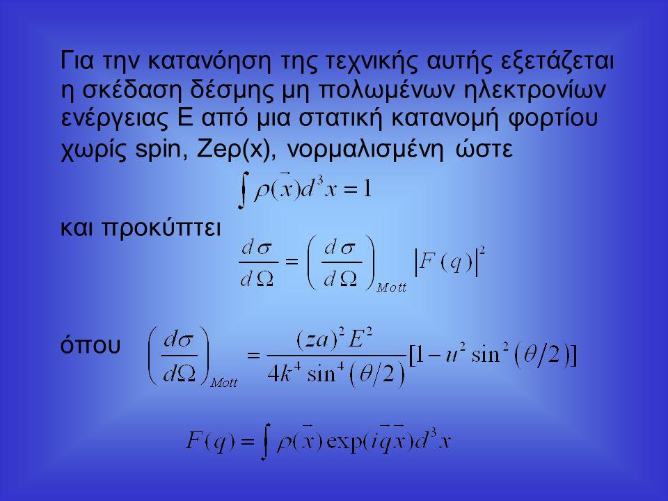Για την κατανόηση της τεχνικής αυτής εξετάζεται η σκέδαση δέσμης μη πολωμένων ηλεκτρονίων ενέργειας Ε από μια στατική κατανομή φορτίου χωρίς spin, Zeρ(x), νορμαλισμένη ώστε