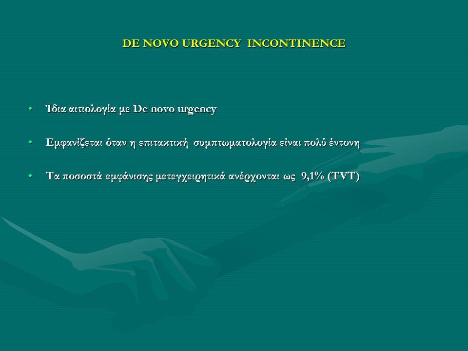 DE NOVO URGENCY INCONTINENCE