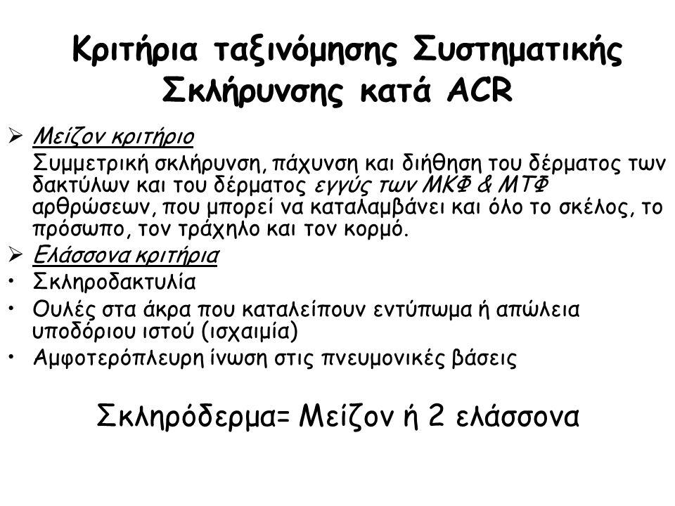 Κριτήρια ταξινόμησης Συστηματικής Σκλήρυνσης κατά ACR