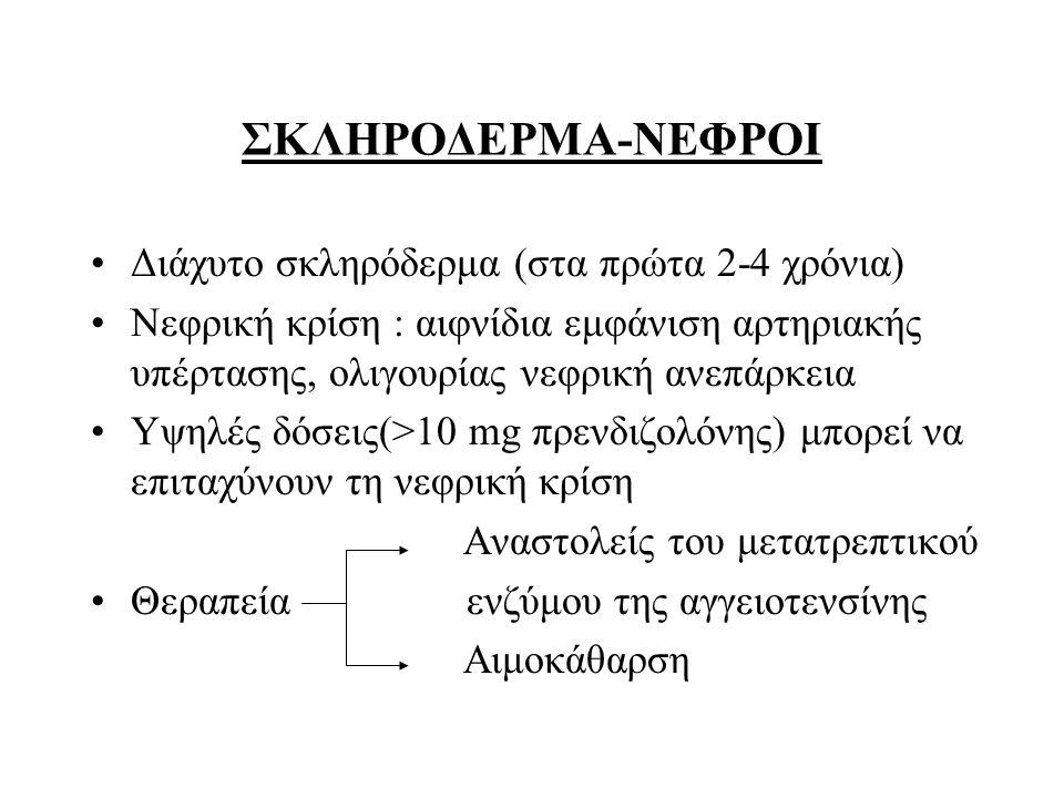 ΣΚΛΗΡΟΔΕΡΜΑ-ΝΕΦΡΟΙ Διάχυτο σκληρόδερμα (στα πρώτα 2-4 χρόνια)