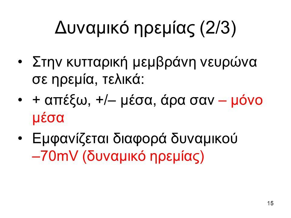 Δυναμικό ηρεμίας (2/3) Στην κυτταρική μεμβράνη νευρώνα σε ηρεμία, τελικά: + απέξω, +/– μέσα, άρα σαν – μόνο μέσα.