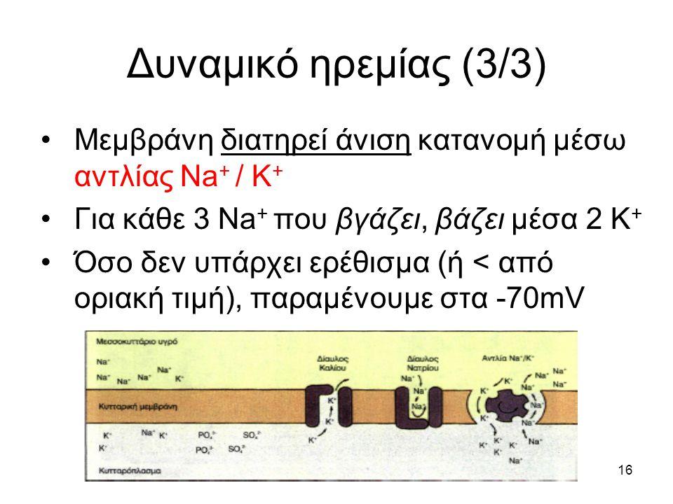 Δυναμικό ηρεμίας (3/3) Μεμβράνη διατηρεί άνιση κατανομή μέσω αντλίας Na+ / Κ+ Για κάθε 3 Na+ που βγάζει, βάζει μέσα 2 Κ+