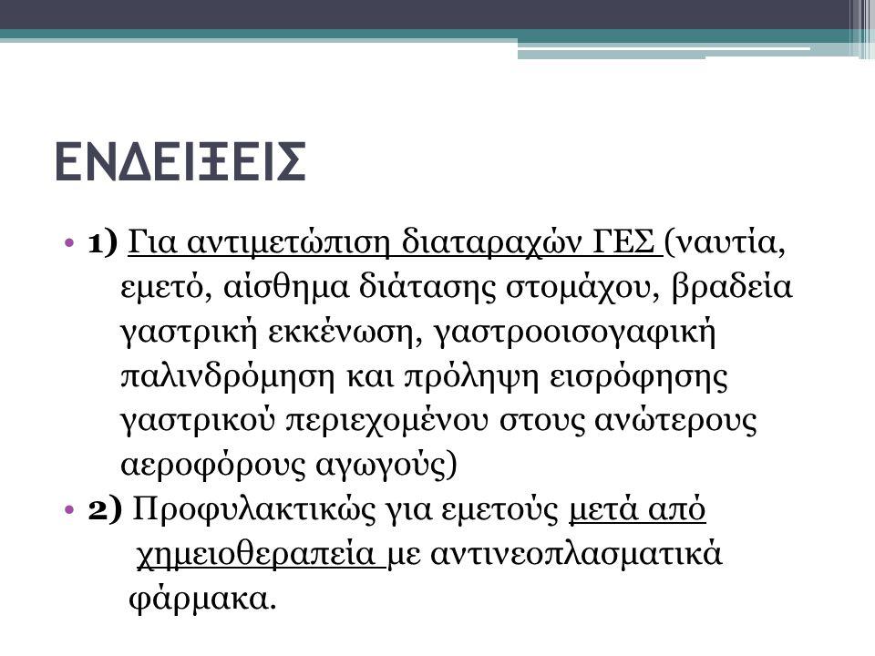 ΕΝΔΕΙΞΕΙΣ 1) Για αντιμετώπιση διαταραχών ΓΕΣ (ναυτία,