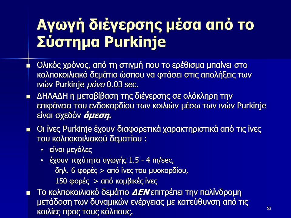 Αγωγή διέγερσης μέσα από το Σύστημα Purkinje