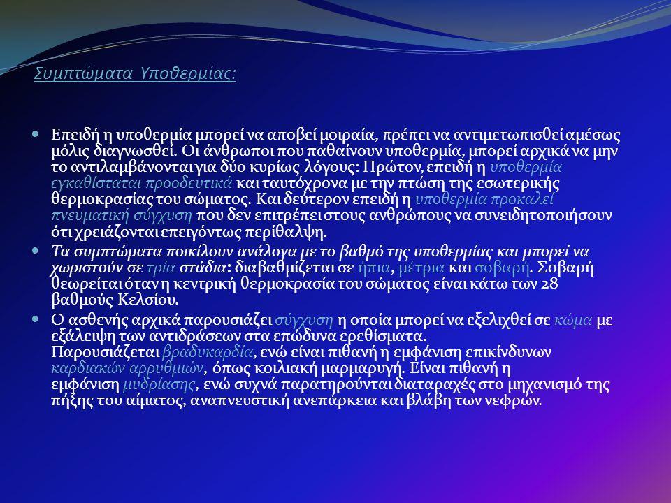Συμπτώματα Υποθερμίας: