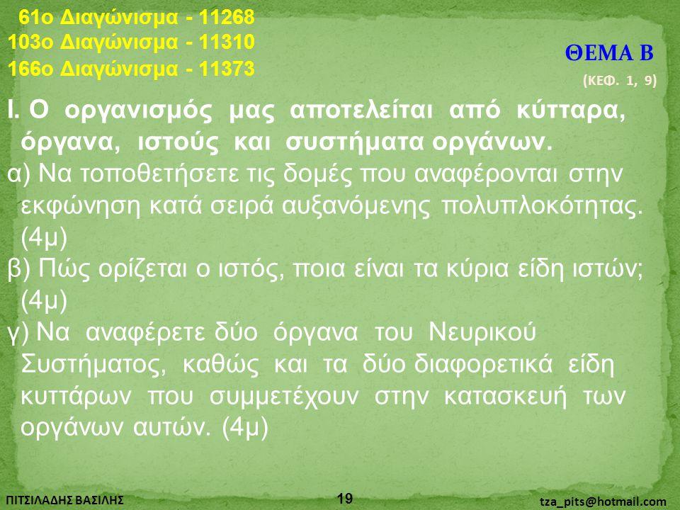 61o Διαγώνισμα - 11268 103o Διαγώνισμα - 11310. ΘΕΜΑ Β. 166o Διαγώνισμα - 11373. (ΚΕΦ. 1, 9)