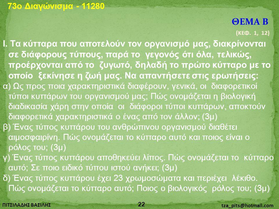 73o Διαγώνισμα - 11280 ΘΕΜΑ Β. (ΚΕΦ. 1, 12)