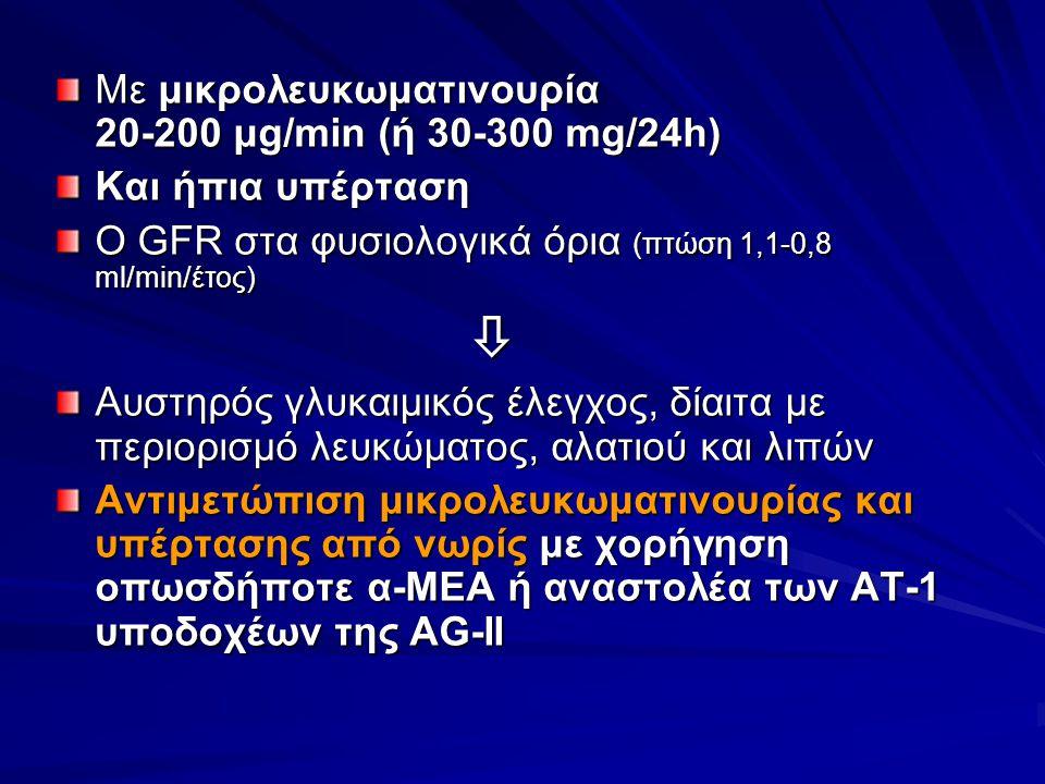  Με μικρολευκωματινουρία 20-200 μg/min (ή 30-300 mg/24h)