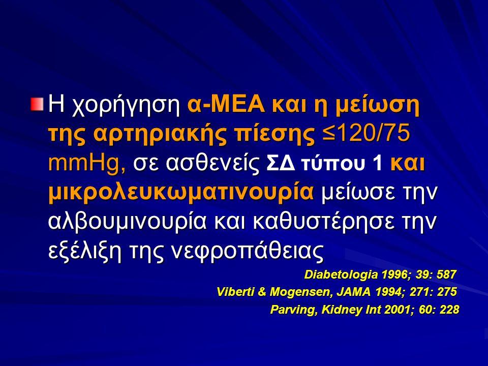 Η χορήγηση α-ΜΕΑ και η μείωση της αρτηριακής πίεσης ≤120/75 mmHg, σε ασθενείς ΣΔ τύπου 1 και μικρολευκωματινουρία μείωσε την αλβουμινουρία και καθυστέρησε την εξέλιξη της νεφροπάθειας