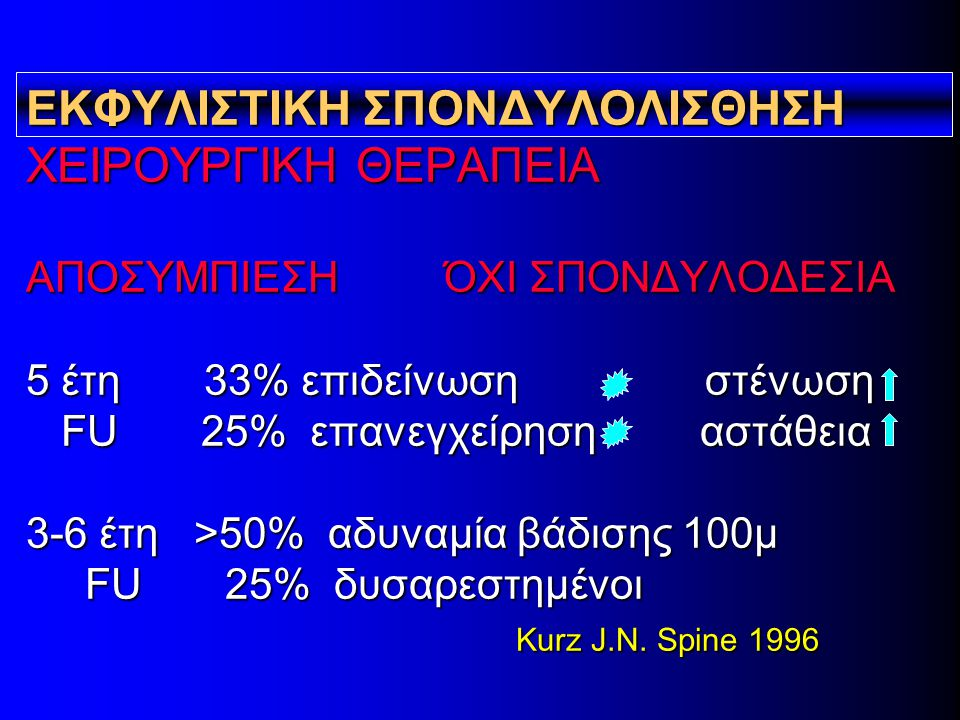 ΕΚΦΥΛΙΣΤΙΚΗ ΣΠΟΝΔΥΛΟΛΙΣΘΗΣΗ ΧΕΙΡΟΥΡΓΙΚΗ ΘΕΡΑΠΕΙΑ ΑΠΟΣΥΜΠΙΕΣΗ ΌΧΙ ΣΠΟΝΔΥΛΟΔΕΣΙΑ 5 έτη 33% επιδείνωση στένωση FU 25% επανεγχείρηση αστάθεια 3-6 έτη >50% αδυναμία βάδισης 100μ FU 25% δυσαρεστημένοι Κurz J.N.