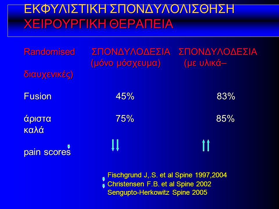 ΕΚΦΥΛΙΣΤΙΚΗ ΣΠΟΝΔΥΛΟΛΙΣΘΗΣΗ ΧΕΙΡΟΥΡΓΙΚΗ ΘΕΡΑΠΕΙΑ Randomised ΣΠΟΝΔΥΛΟΔΕΣΙΑ ΣΠΟΝΔΥΛΟΔΕΣΙΑ (μόνο μόσχευμα) (με υλικά–διαυχενικές) Fusion 45% 83% άριστα 75% 85% καλά pain scores Fischgrund J,.S.