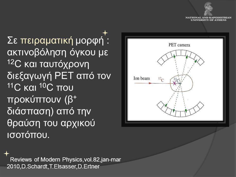 Σε πειραματική μορφή : ακτινοβόληση όγκου με 12C και ταυτόχρονη διεξαγωγή PET από τον 11C και 10C που προκύπτουν (β+ διάσπαση) από την θραύση του αρχικού ισοτόπου.