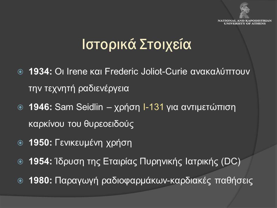 Ιστορικά Στοιχεία 1934: Οι Irene και Frederic Joliot-Curie ανακαλύπτουν την τεχνητή ραδιενέργεια.