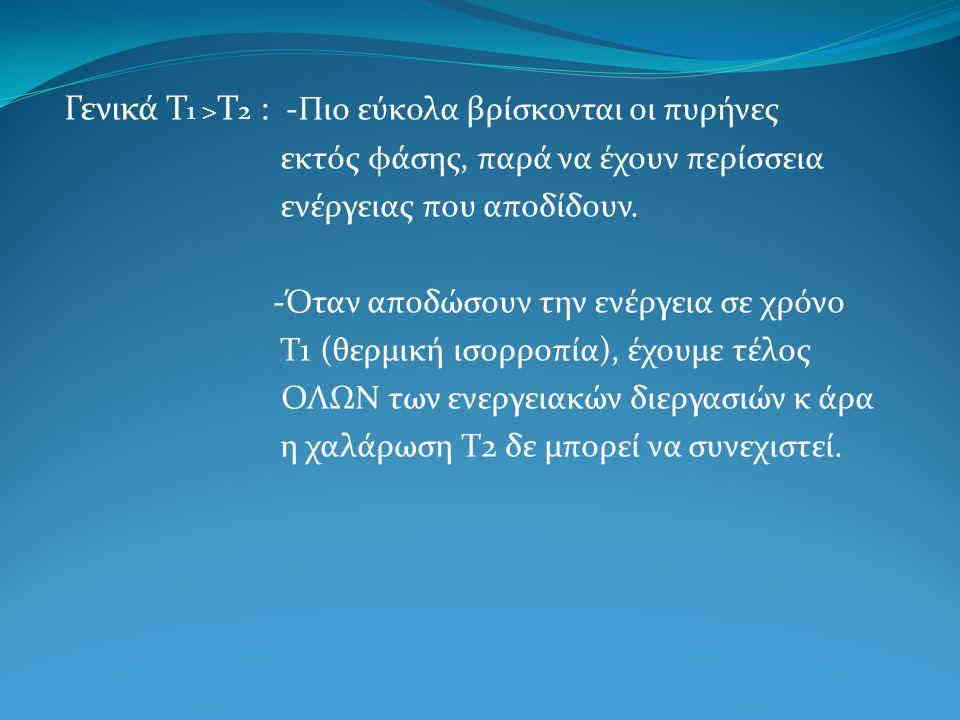 Γενικά Τ1 >Τ2 : -Πιο εύκολα βρίσκονται οι πυρήνες