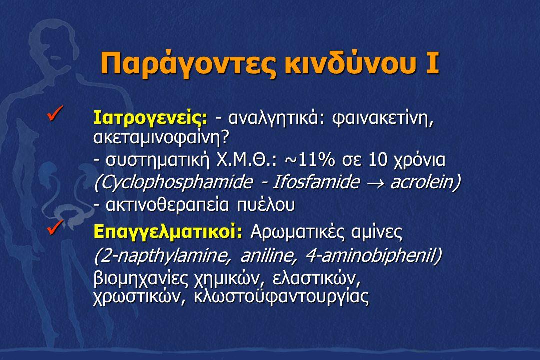 Παράγοντες κινδύνου I  Ιατρογενείς: - αναλγητικά: φαινακετίνη, ακεταμινοφαίνη - συστηματική Χ.Μ.Θ.: ~11% σε 10 χρόνια.