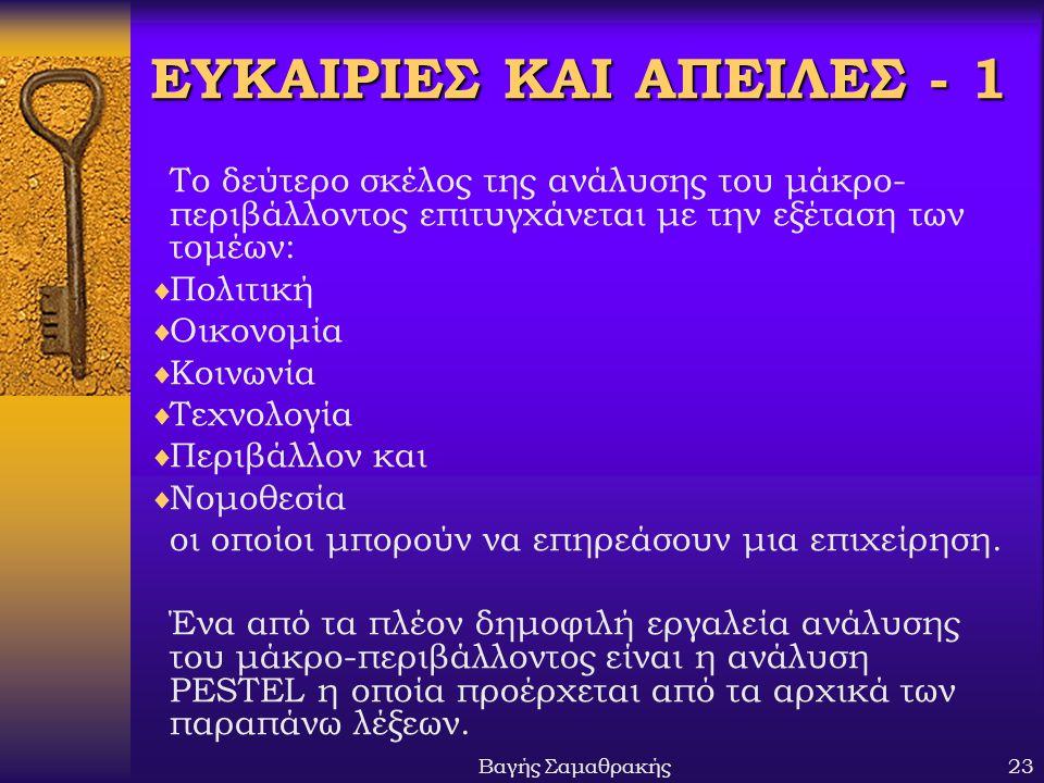ΕΥΚΑΙΡΙΕΣ ΚΑΙ ΑΠΕΙΛΕΣ - 1