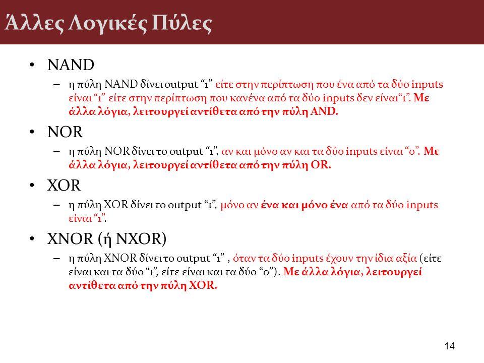 Άλλες Λογικές Πύλες NAND NOR XOR XNOR (ή NXOR)