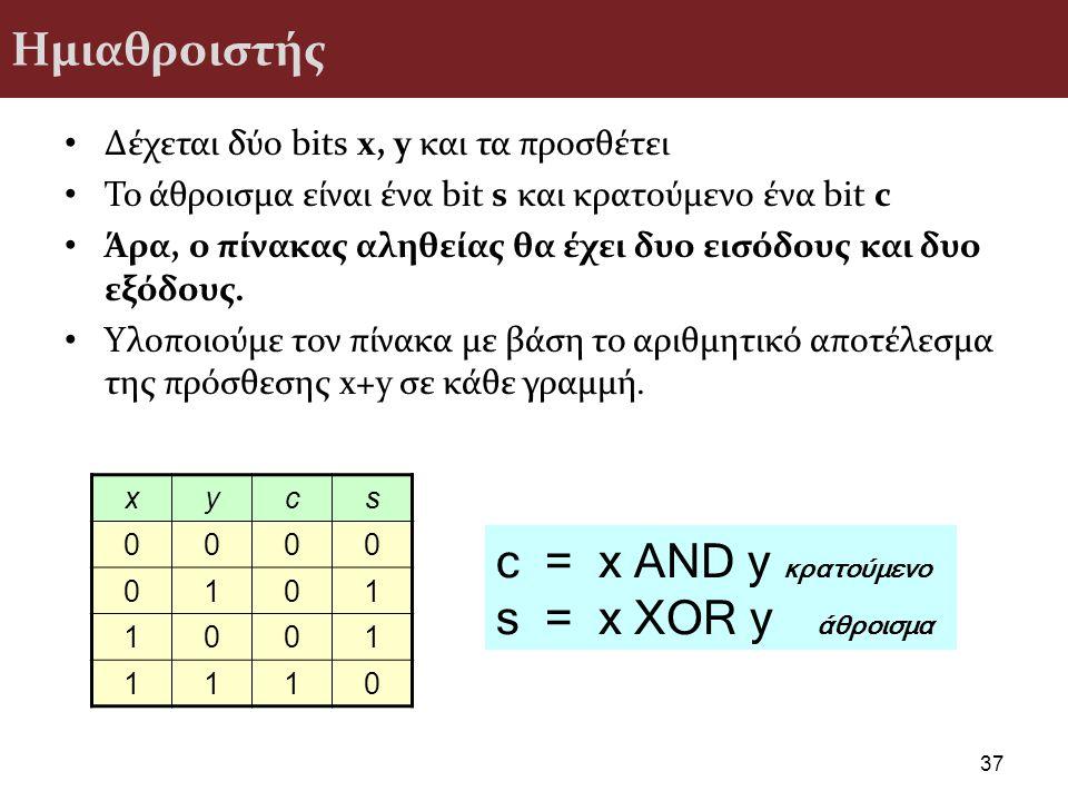 c = x AND y κρατούμενο s = x XOR y άθροισμα