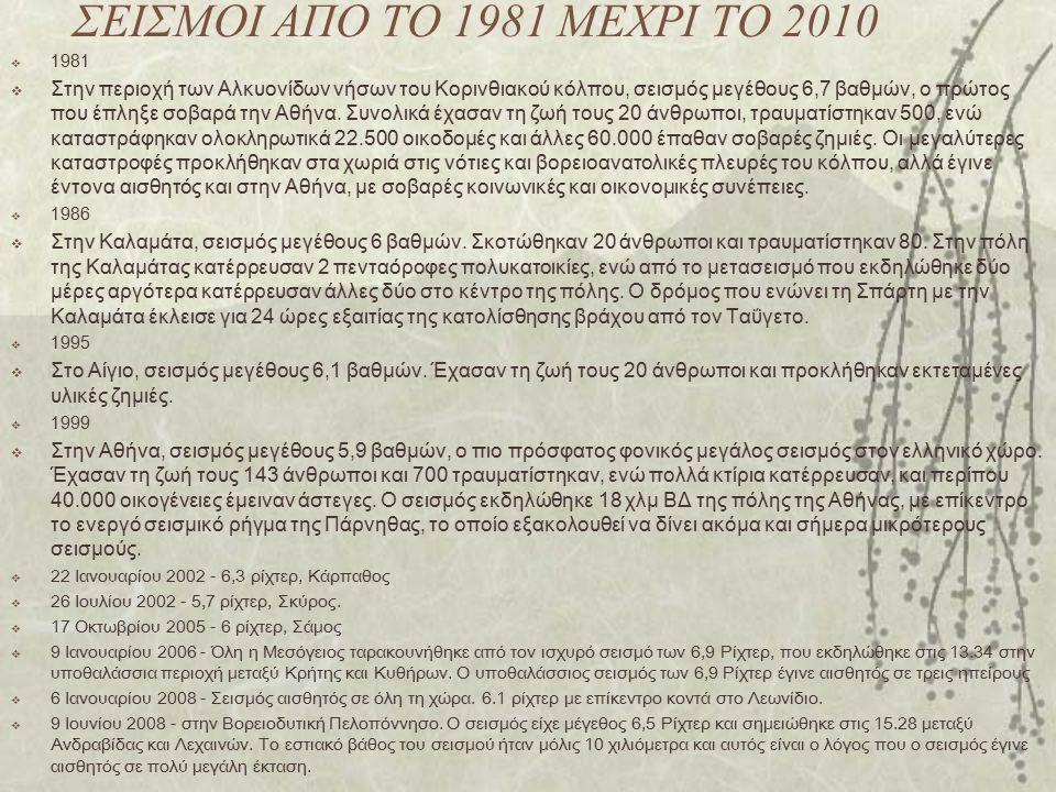 ΣΕΙΣΜΟΙ ΑΠΟ ΤΟ 1981 ΜΕΧΡΙ ΤΟ 2010 1981.