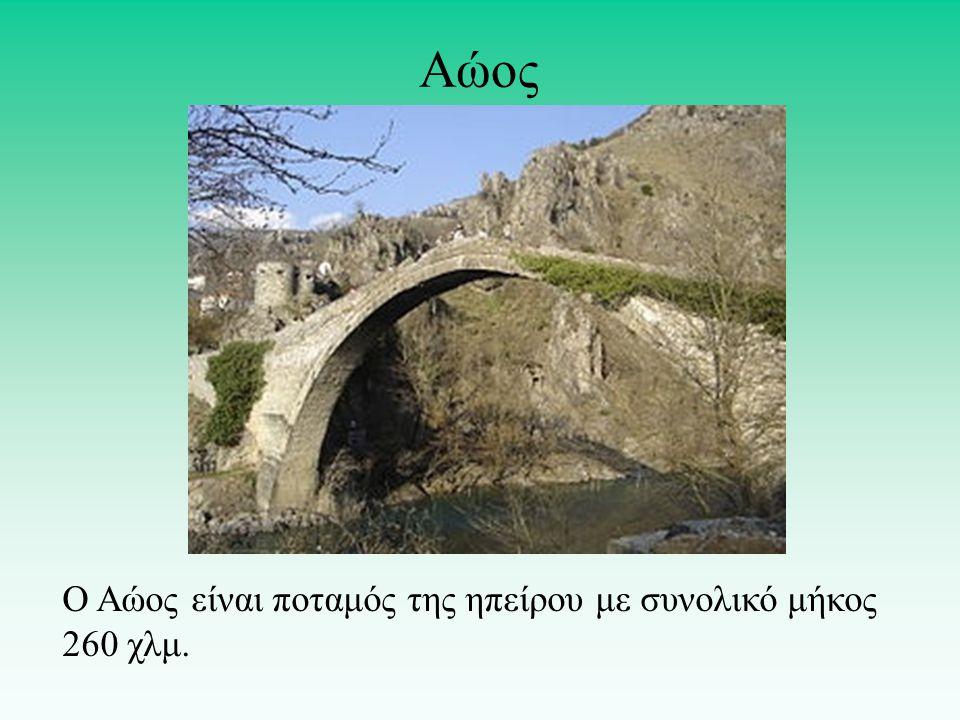Αώος Ο Αώος είναι ποταμός της ηπείρου με συνολικό μήκος 260 χλμ.