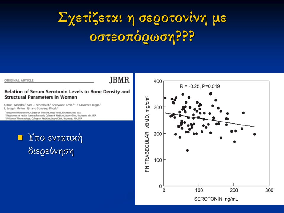 Σχετίζεται η σεροτονίνη με οστεοπόρωση