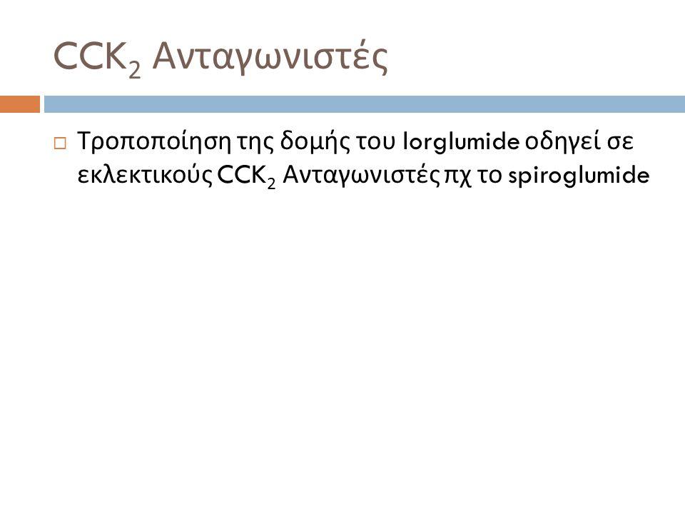 CCK2 Ανταγωνιστές Τροποποίηση της δομής του lorglumide οδηγεί σε εκλεκτικούς CCK2 Ανταγωνιστές πχ το spiroglumide.