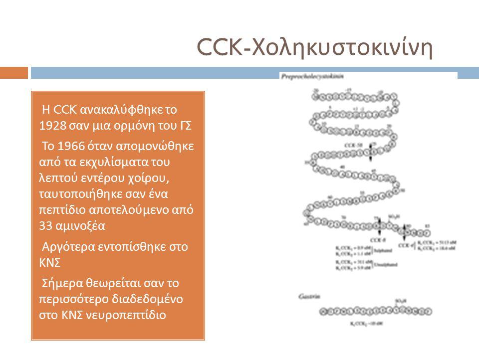 CCK-Χοληκυστοκινίνη Η CCK ανακαλύφθηκε το 1928 σαν μια ορμόνη του ΓΣ