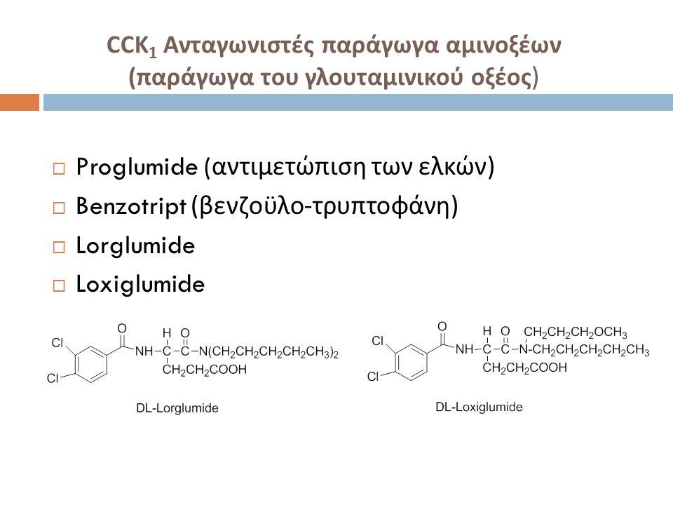 Proglumide (αντιμετώπιση των ελκών) Benzotript (βενζοϋλο-τρυπτοφάνη)