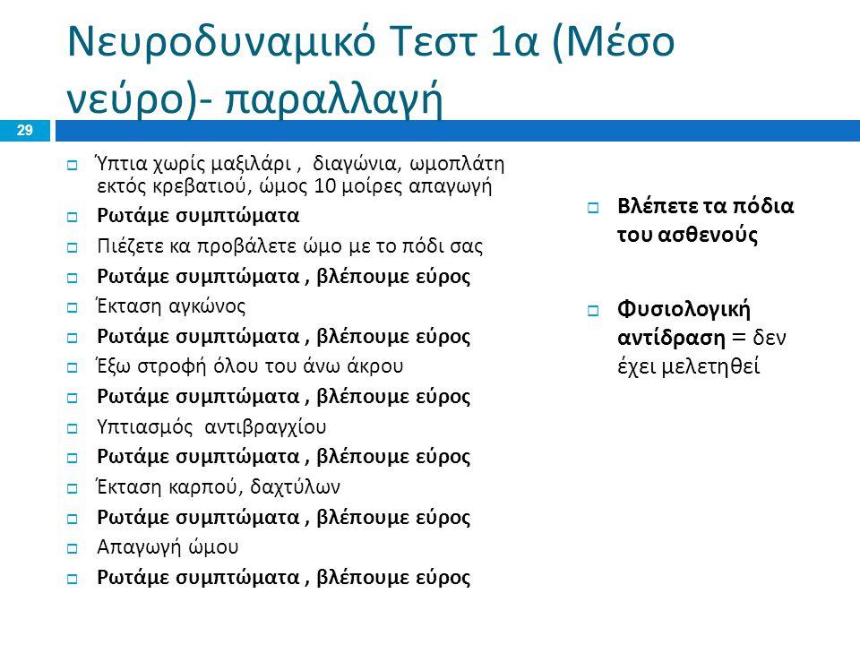 Νευροδυναμικό Τεστ 1α (Μέσο νεύρο)- παραλλαγή