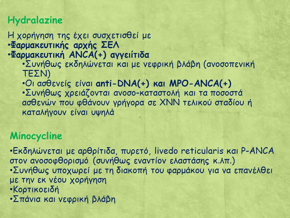 Hydralazine Minocycline Η χορήγηση της έχει συσχετισθεί με