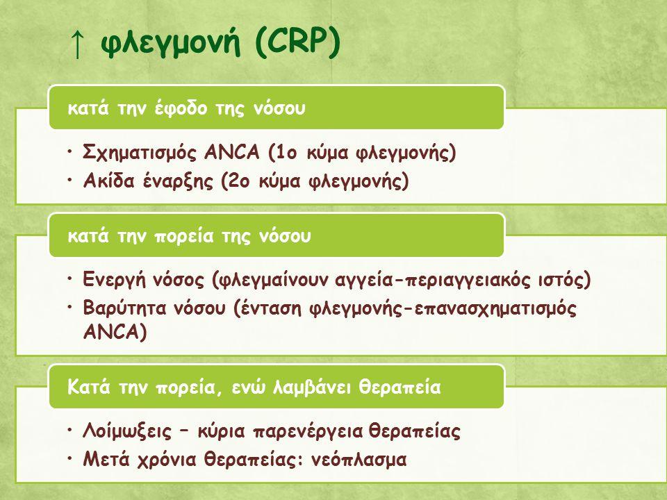 ↑ φλεγμονή (CRP) Σχηματισμός ANCA (1o κύμα φλεγμονής)