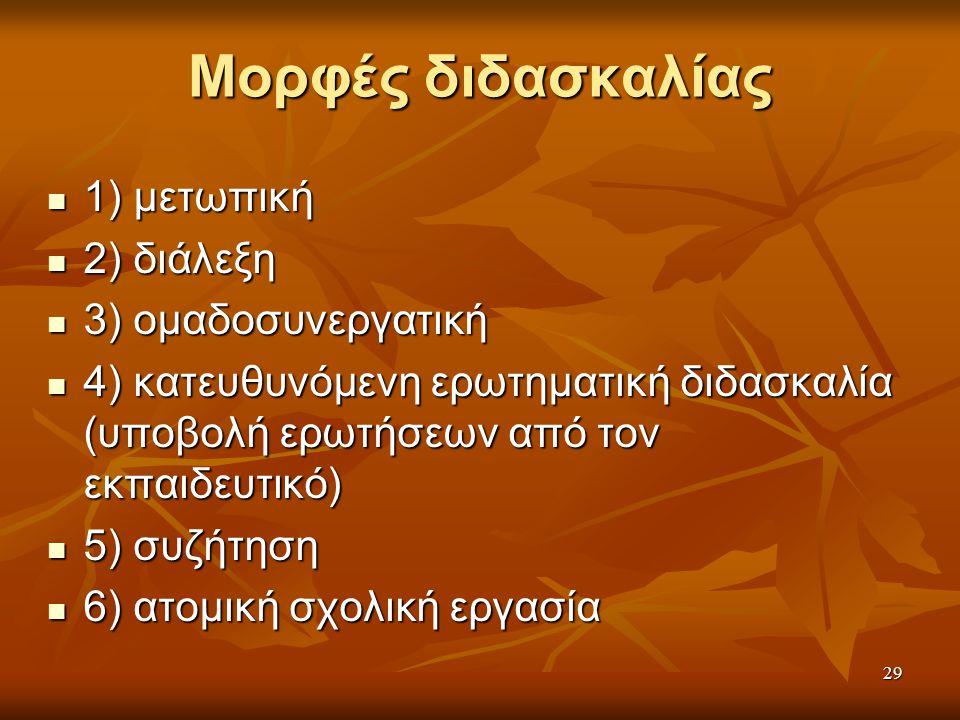 Μορφές διδασκαλίας 1) μετωπική 2) διάλεξη 3) ομαδοσυνεργατική