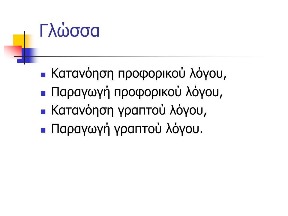 Γλώσσα Κατανόηση προφορικού λόγου, Παραγωγή προφορικού λόγου,