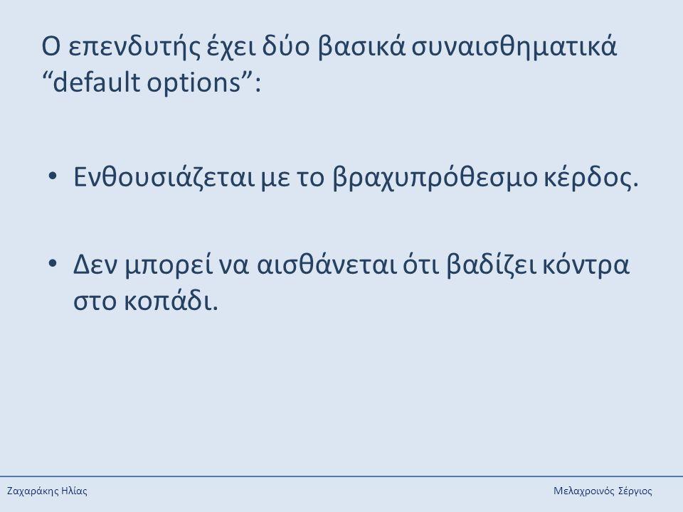 Ο επενδυτής έχει δύο βασικά συναισθηματικά default options :