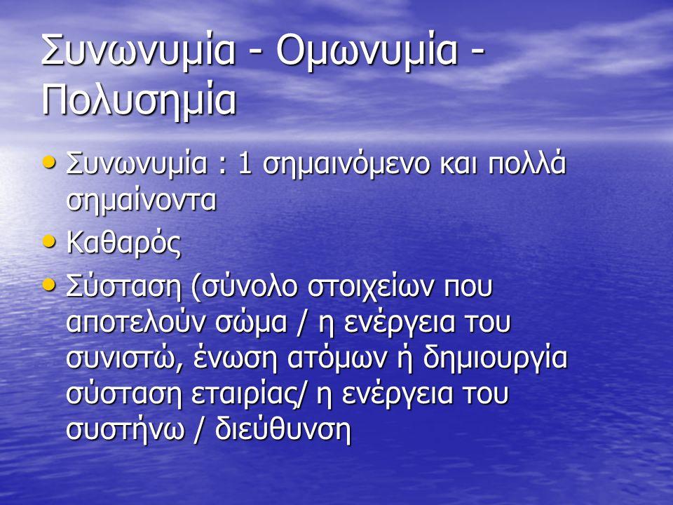 Συνωνυμία - Ομωνυμία - Πολυσημία