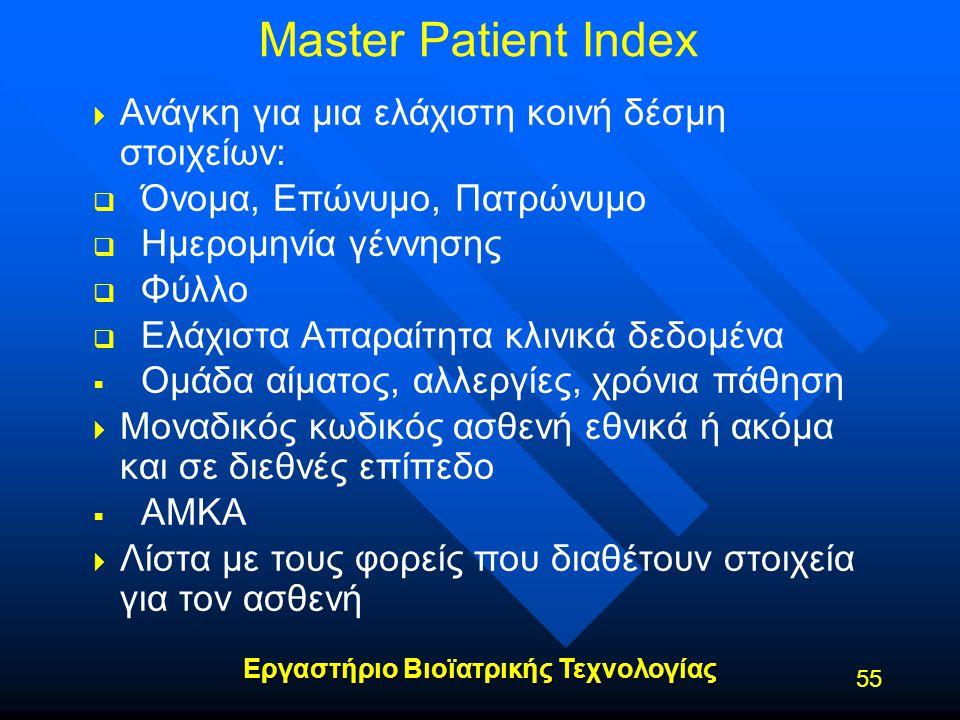 Master Patient Index Ανάγκη για μια ελάχιστη κοινή δέσμη στοιχείων: