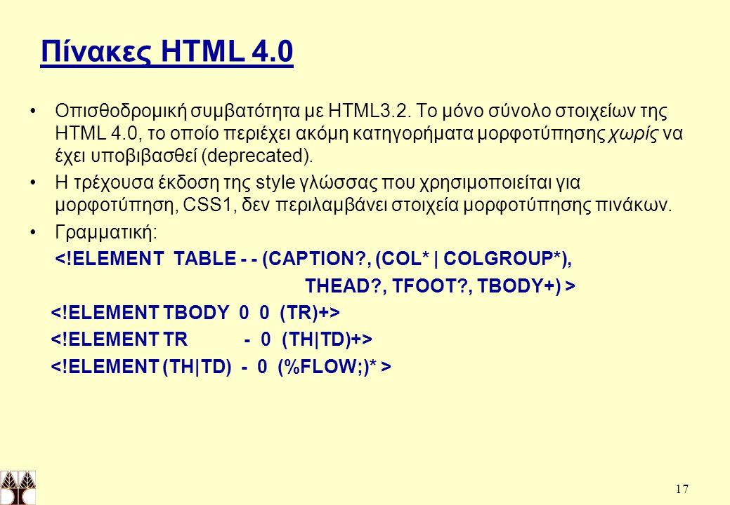 Πίνακες HTML 4.0