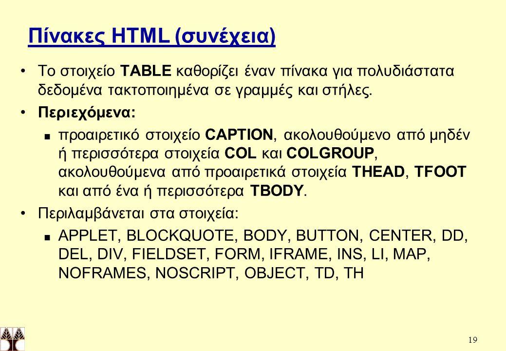 Πίνακες HTML (συνέχεια)