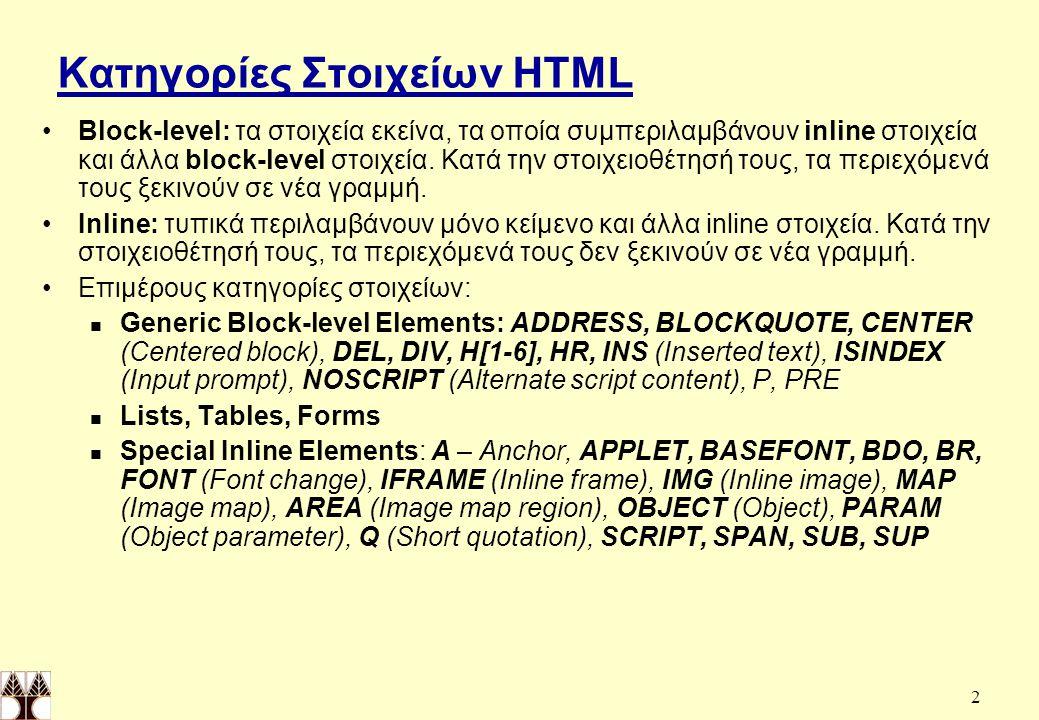 Κατηγορίες Στοιχείων HTML