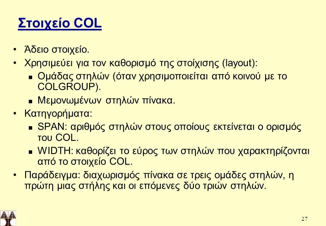 Στοιχείο COL Άδειο στοιχείο.