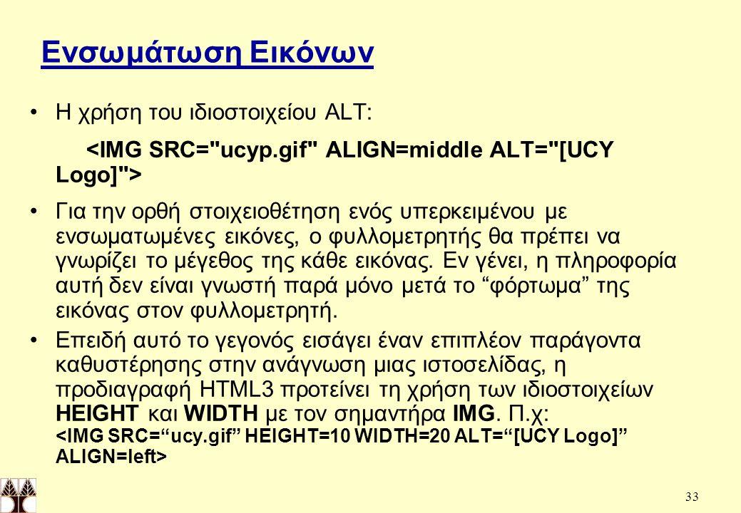 Ενσωμάτωση Εικόνων Η χρήση του ιδιοστοιχείου ALT: