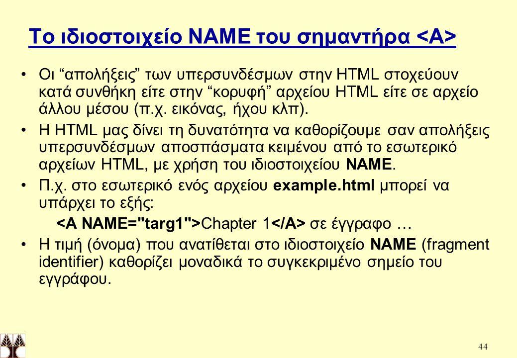 Το ιδιοστοιχείο NAME του σημαντήρα <A>