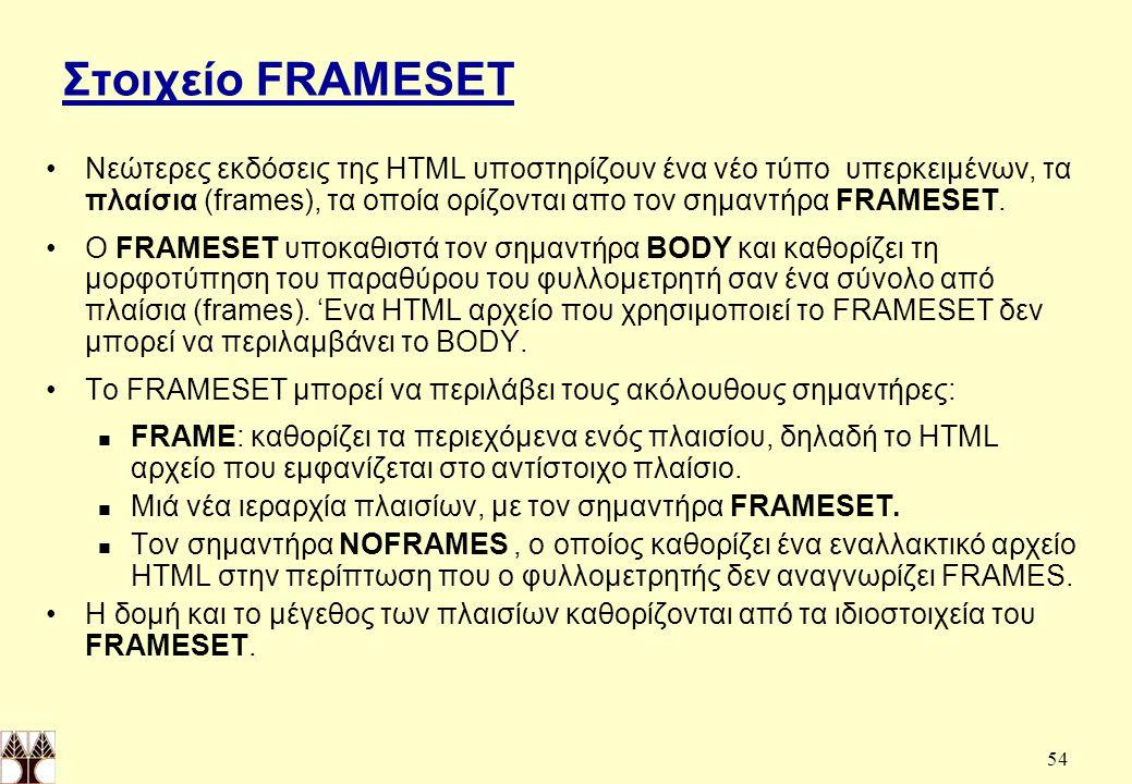 Στοιχείο FRAMESET