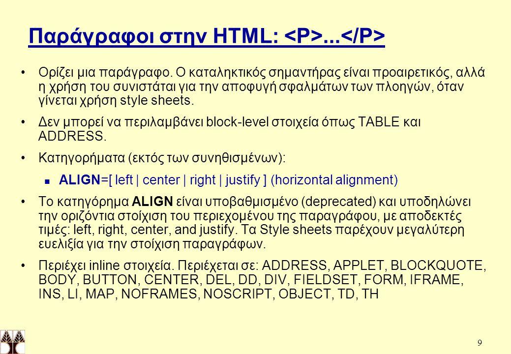 Παράγραφοι στην HTML: <P>...</P>