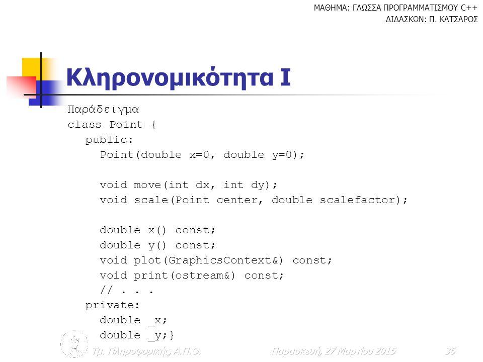 Κληρονομικότητα Ι Παράδειγμα class Point { public: